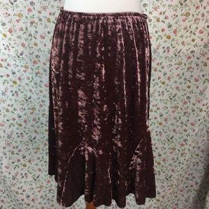 Vintage 90's Crushed Velvet Skirt 12 Pink 80's